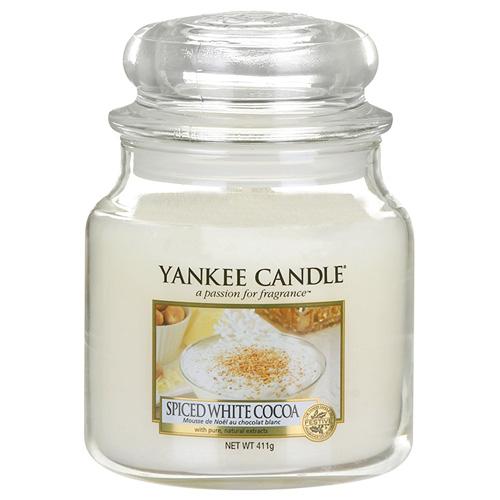 Svíčka ve skleněné dóze Yankee Candle Bílé kakao s kořením, 410 g