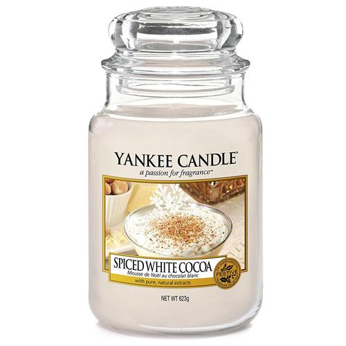 Svíčka ve skleněné dóze Yankee Candle Bílé kakao s kořením, 623 g
