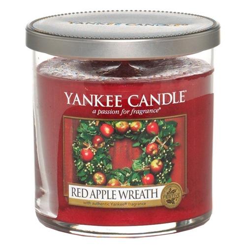 Svíčka ve skleněném válci Yankee Candle Věnec z červených jablíček, 198 g