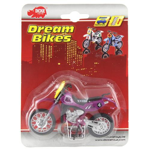 Motocykl Dickie Cross  č. 4 - závodní 12 cm, fialová