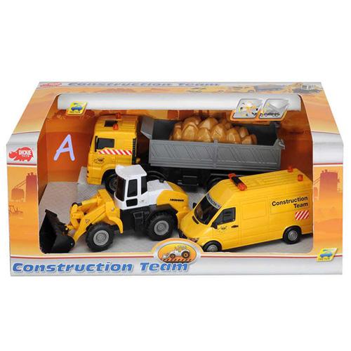 Stavební auta Dickie 3 ks, barva žlutá