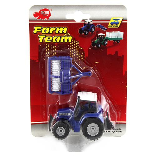 Traktor Dickie S přívěsem - kovový 16 cm, barva modrá