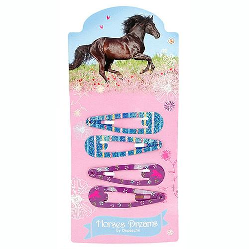 Sponky Horses Dreams ASST Pukačky do vlasů, 2x modré, 2x fialové