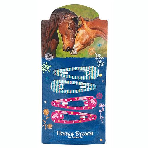 Sponky Horses Dreams ASST Pukačky do vlasů, 2x tyrkysové, 2x růžové