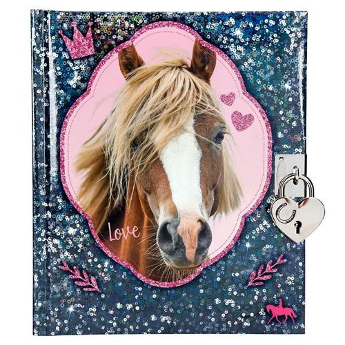Deníček se zámkem Horses Dreams Modrý
