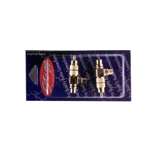 Konektor Stagg AC-CFCMH, 2 ks - 2 x samice RCA - samec RCA, zlatá