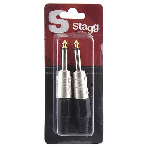 """Konektor Stagg 2 ks - Jack 1/4"""", stříbrno-černá"""