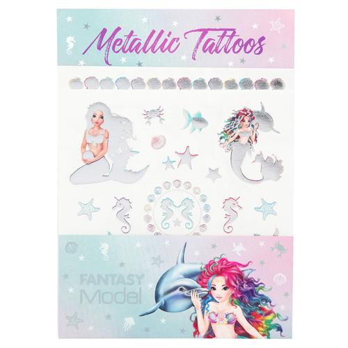 Metalické tetování Fantasy Model Mořská panna s delfínem