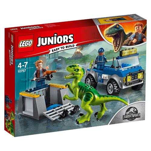 Stavebnice LEGO Juniors Jurassic World Vozidlo pro záchranu Raptora, 85 dílků