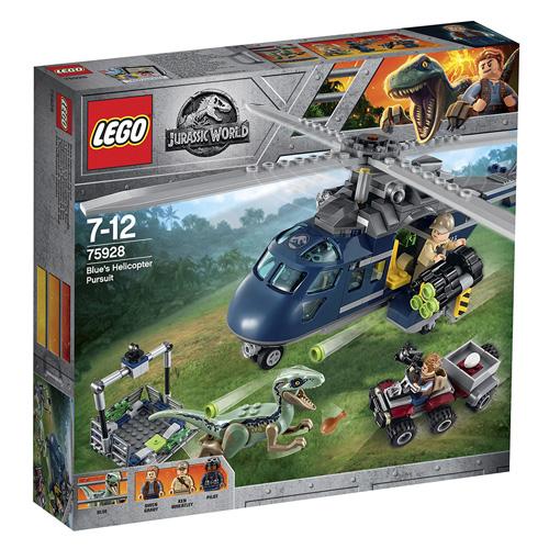 Stavebnice LEGO Jurassic World Pronásledování Bluea helikoptérou, 397 dílků