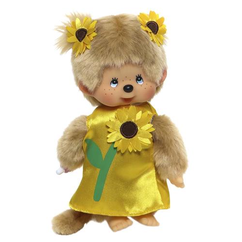 Plyš Monchhichi Holka, šaty se slunečnicí, 20 cm