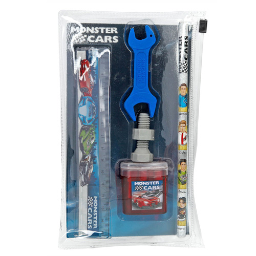 Psací set Monster Cars 5 ks, tužka, pravítko, 2 x guma, ořezávátko