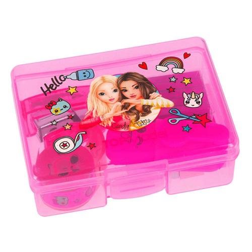 Mini set na psací stůl Top Model ASST Růžový box - zvýrazňovač, lepící bločky, sešívačka, sponky,