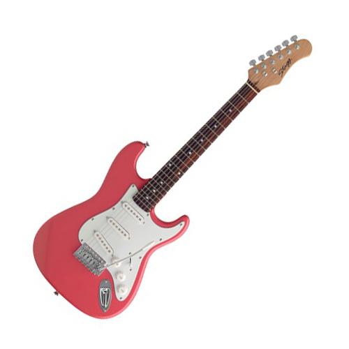 Elektrická kytara Stagg typ Strat,  ve 3/4 zmenšené verzi, barva růžová