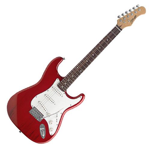 Elektrická kytara Stagg typ Strat, barva červemá