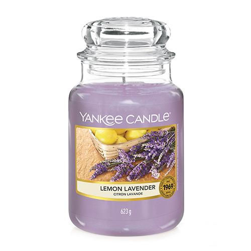 Svíčka ve skleněné dóze Yankee Candle Citrón a levandule, 623 g