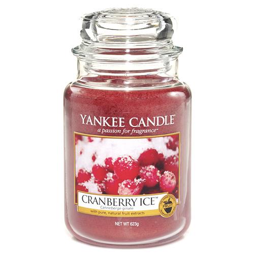Svíčka ve skleněné dóze Yankee Candle Brusinky na ledu, 623 g
