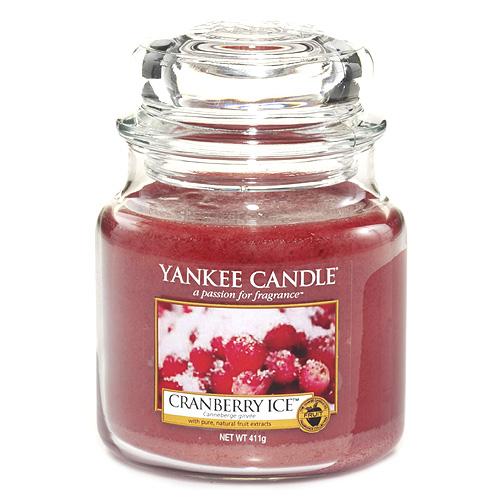Svíčka ve skleněné dóze Yankee Candle Brusinky na ledu, 410 g