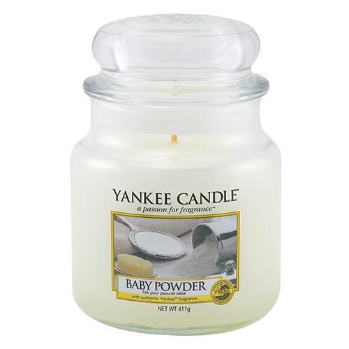 Svíčka ve skleněné dóze Yankee Candle Dětský pudr, 410 g
