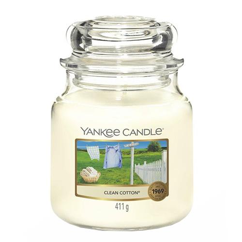 Svíčka ve skleněné dóze Yankee Candle Čistá bavlna, 410 g