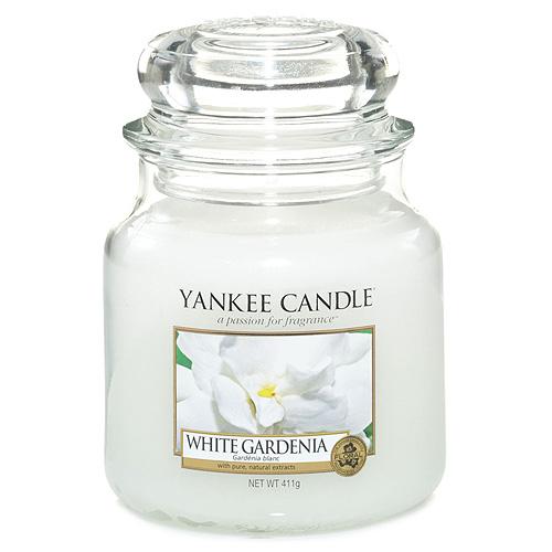 Svíčka ve skleněné dóze Yankee Candle Bílá gardénie, 410 g