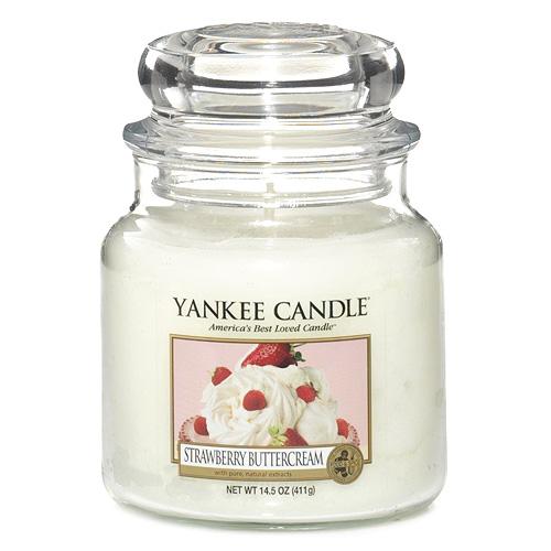 Svíčka ve skleněné dóze Yankee Candle Jahody se šlehačkou, 410 g