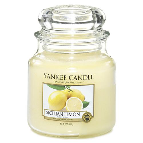Svíčka ve skleněné dóze Yankee Candle Sicilský citrón, 410 g