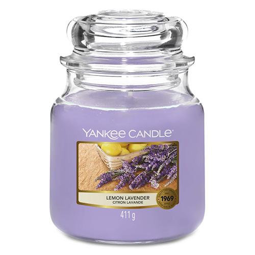 Svíčka ve skleněné dóze Yankee Candle Citrón a levandule, 410 g