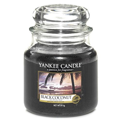 Svíčka ve skleněné dóze Yankee Candle Černý kokos, 410 g