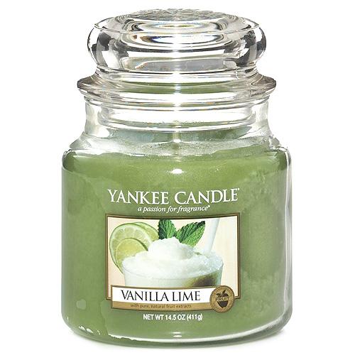 Svíčka ve skleněné dóze Yankee Candle Vanilka s limetkami, 410 g