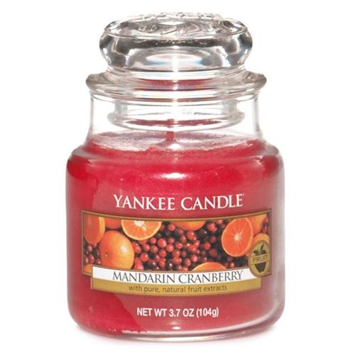 Svíčka ve skleněné dóze Yankee Candle Mandarinky s brusinkami, 104 g