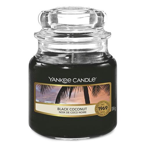 Svíčka ve skleněné dóze Yankee Candle Černý kokos, 104 g