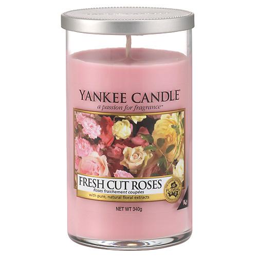 Svíčka ve skleněném válci Yankee Candle Čerstvě nařezané růže, 340 g