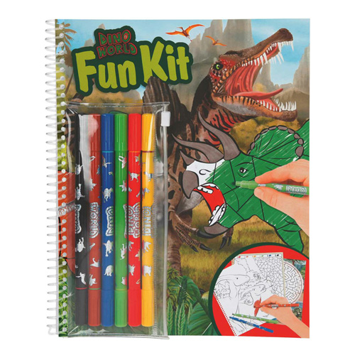 Omalovánky Dino World Fun Kit, 6 fixů