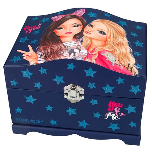 Šperkovnice Top Model Miju a Candy, se světly a zrcátkem, tmavě modrá