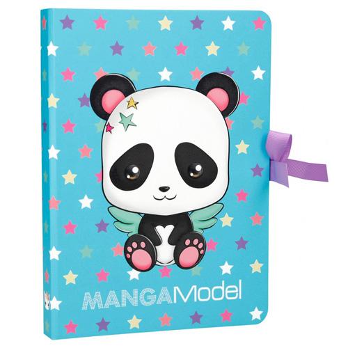 Zápisník s bločky Manga Model Panda, modrý s hvězdičkami