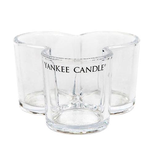 Svícen skleněný Yankee Candle Trojlístek, na 3 svíčky, čiré sklo