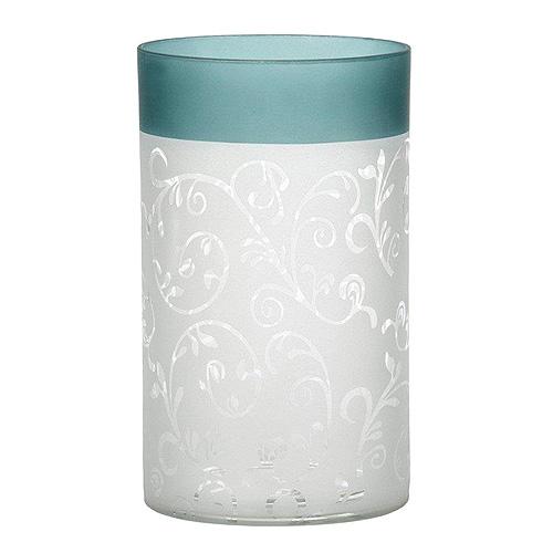 Svícen skleněný Yankee Candle Tyrkysově-bílé pískované sklo se vzorem, výška 15 cm