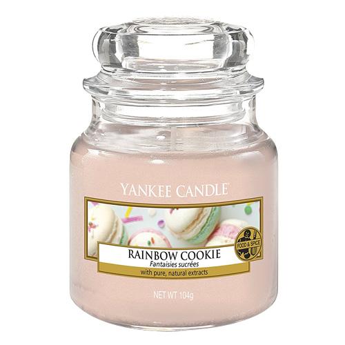 Svíčka ve skleněné dóze Yankee Candle Duhové makronky, 104 g