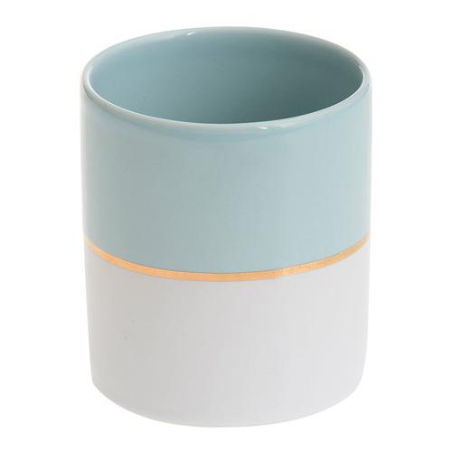Svícen keramický Yankee Candle Pastelová modrá se zlatým proužkem, průměr 7 cm