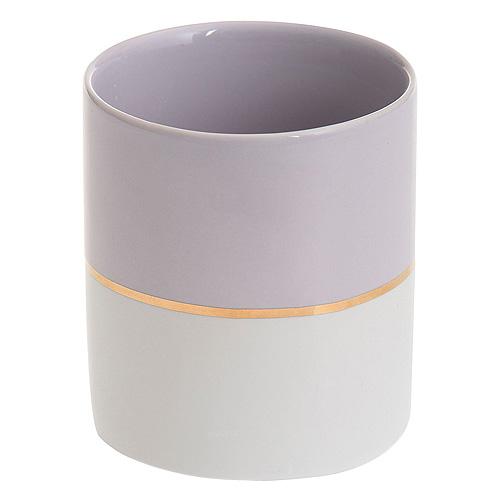 Svícen keramický Yankee Candle Pastelová fialová se zlatým proužkem, průměr 7 cm