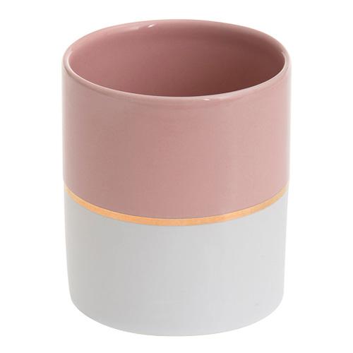Svícen keramický Yankee Candle Pastelová růžová se zlatým proužkem, průměr 7 cm