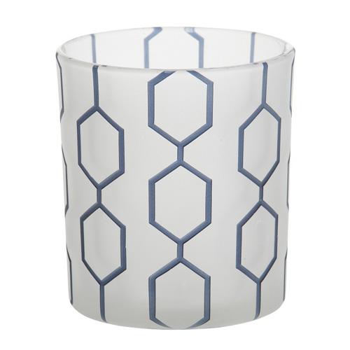Svícen skleněný Yankee Candle Modrý dekorativní vzor, průměr 7 cm