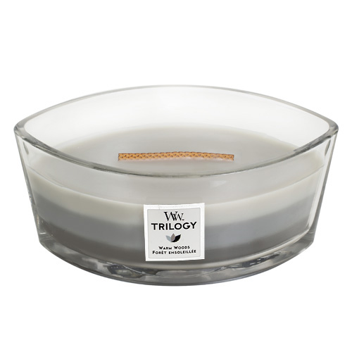 Svíčka Trilogy WoodWick Hřejivé dřevo, 453.6 g