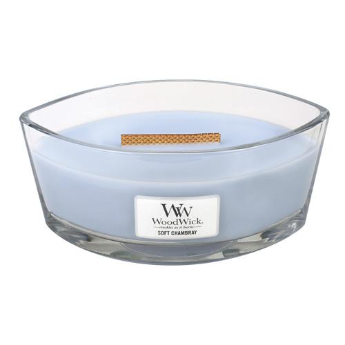 Svíčka dekorativní váza WoodWick Čisté prádlo, jasmín a růže, 453.6 g
