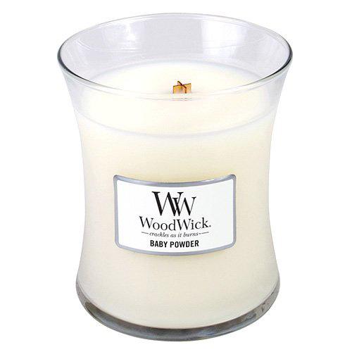 Svíčka oválná váza WoodWick Dětský pudr, 275 g