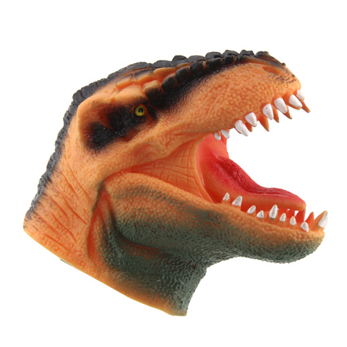 Tyrannosaurus Rex na ruku Dino World ASST Oranžový se zelenou bradou, silikonový