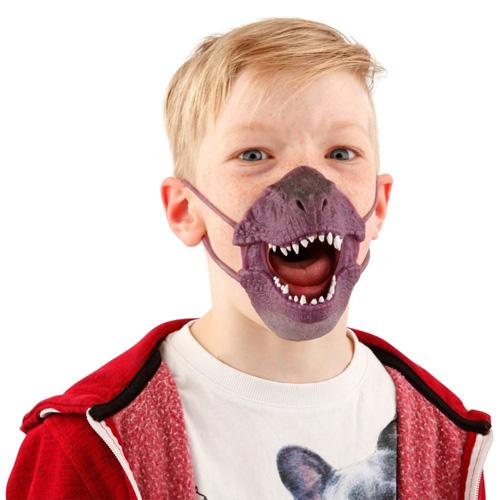 Maska na obličej Dino World ASST Tyrannosaurus Rex, silikonová, fialová