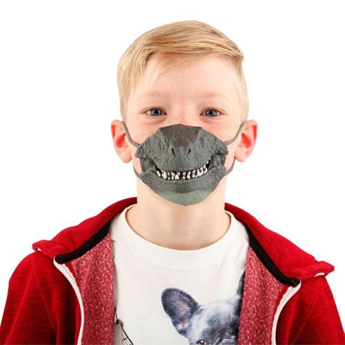 Maska na obličej Dino World ASST Tyrannosaurus Rex, silikonová, šedá