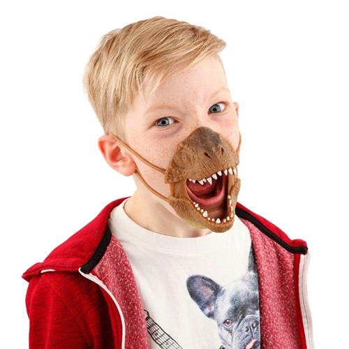 Maska na obličej Dino World ASST Tyrannosaurus Rex, silikonová, hnědá